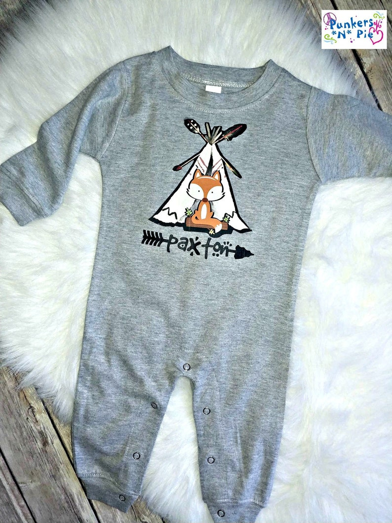 d6991ae32 Personalized Baby Boy Long All Romper Little Fox Tribal design