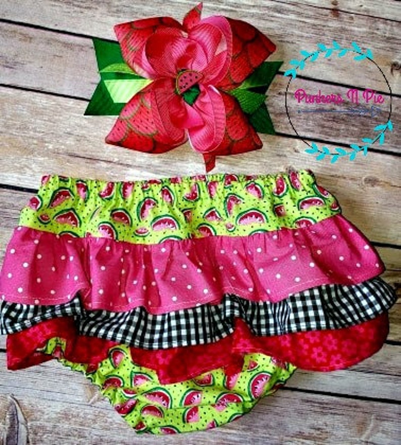 Watermelon Ruffle Diaper Cover Bloomers image 0