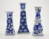 Vintage blue and white Silvestri candlesticks candleholders set of three porcelain ceramic taper candle pillars hand painted Chinese