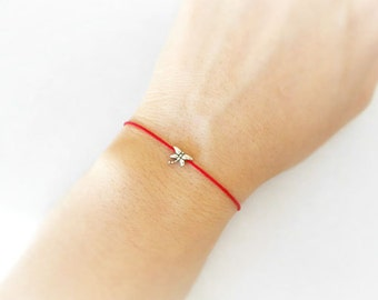 2cb8ef81d01e0a Tiny Dragonfly Charm, Red String Bracelet, Red Thread, Dainty and Cute  Bracelet, Mother's Day Gift, Dragonfly Jewelry, Friendship Gift