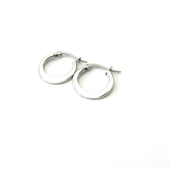 Only Gold Left Stainless Steel Hoop Earrings Small Hoop Etsy