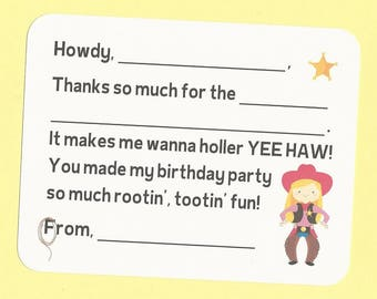 Cowgirl Thank You Cards - Choose Your Cowgirl - Fill in the Blank Cards, Cowgirl Note Cards, Cowgirl Birthday Party, Cowgirl Thank You Cards
