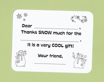 childrens christmas thank you cards fill in the blank cards kids thank you cards christmas coloring cards kids holiday thank you cards