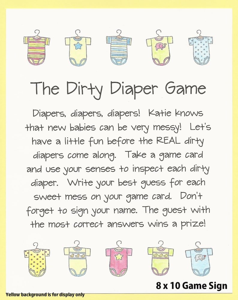 The Dirty Diaper Baby Shower Game Chocolate Candy Shower