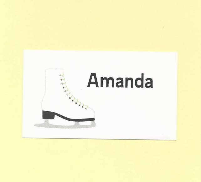 Ice Skates Calling Cards or Gift Labels - Skate Color Options - Ice Skater Gift Enclosures Cards, Birthday Treat Bag Tags, Party Favors Tags