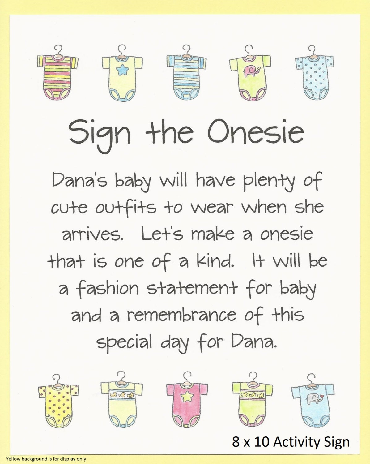 c634147b65a83 Decorate a Onesie Baby Shower Game Sign - Baby Shower Printables, Sign the  Onesie Activity, Paint a Onesie Shower Games, Color a Onesie Game