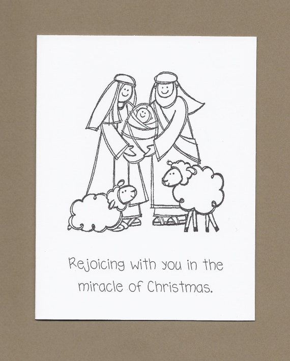 holy family set of 4 color your own christmas cards ask 4 etsy