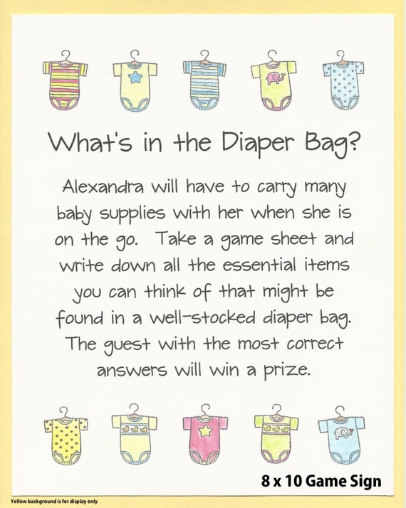 Whats In The Diaper Bag Baby Shower Game Stock The Etsy
