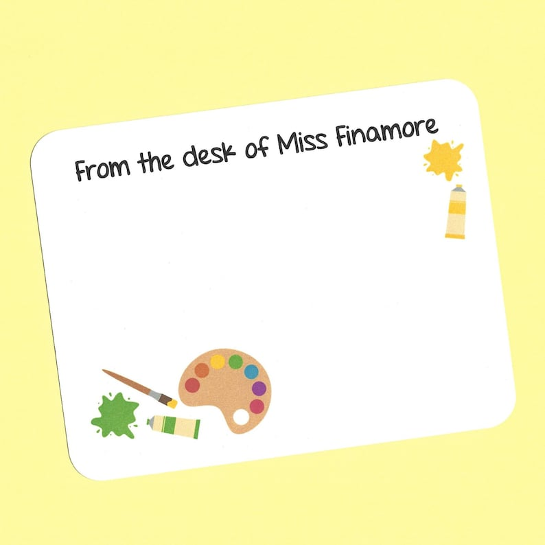 Art Teacher Cards Art Teacher Thank You Cards Custom Art Teacher Cards Art Teacher Gifts Flat Art Note Cards Custom Artist Note Cards