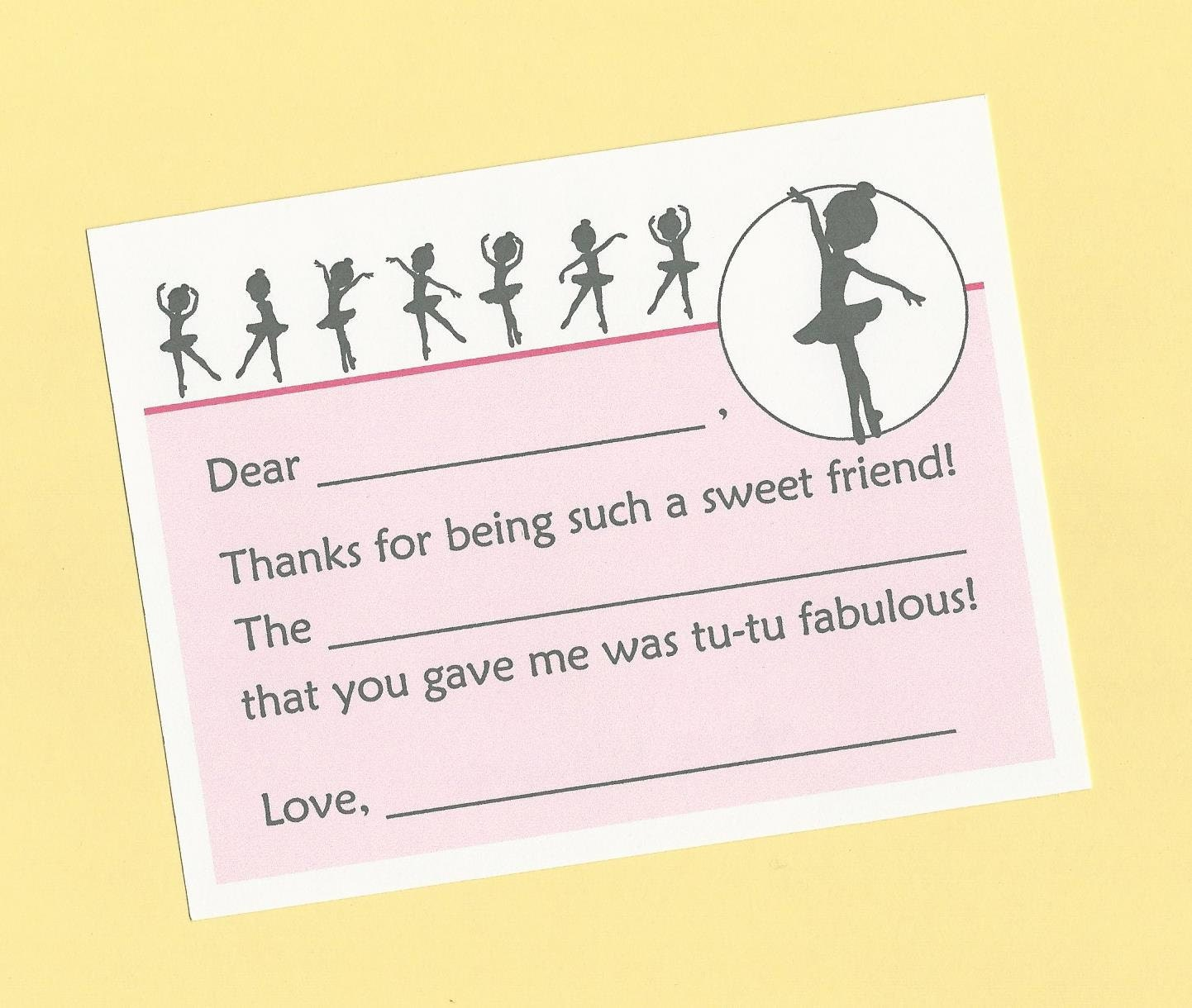 ballerina thank you cards fill in the blanks cards ballet etsy