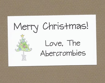 Christmas Tree Gift Enclosure Cards - Family Christmas Gift Labels, Custom Labels, Christmas Party Treat Bag Tags, Holiday Party Favor Tags