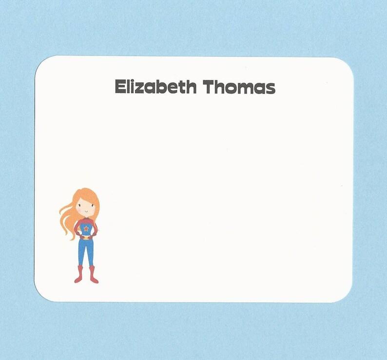 5440fcf003a9d Super Hero Girls Note Cards - Choose Your Super Hero - Super Girl Flat Note  Cards, Super Kids Flat Note Cards, Custom Girls Super Hero Cards