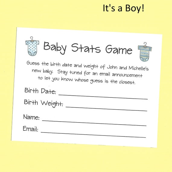 baby shower games, baby shower game, baby stats, guess the due date, baby shower onesie decoration, baby advice cards, advice cards