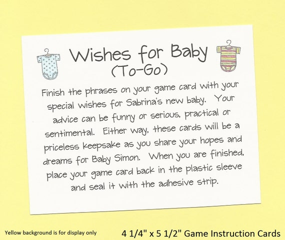 Wishes For Baby To Go Long Distance Baby Shower Game Hopes Etsy