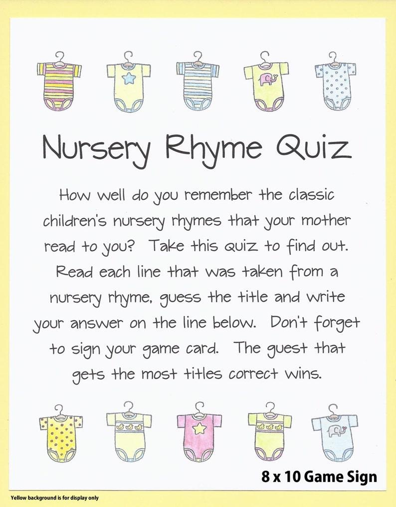 Nursery Rhyme Quiz Baby Shower Game Name The Nursery Rhyme Etsy