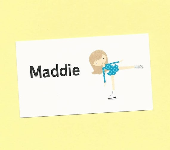 Ice Skater Calling Cards - Skater Options - Ice Skater Gift Enclosures Cards, Skating Birthday Treat Bag Tags, Skater Girl Party Favors Tags