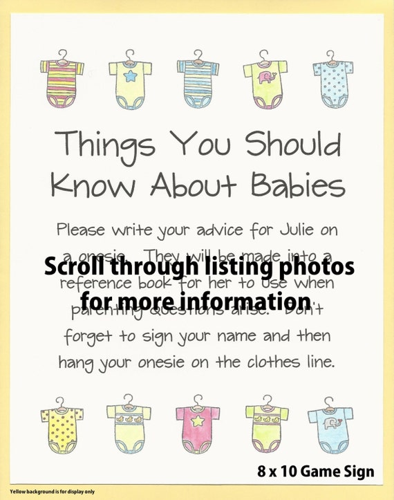 Things You Should Know About Babies Baby Shower Advice Game Etsy