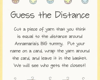 Guess the Distance Baby Shower Game - Measure Moms Tummy Games, Baby Bump Shower Games, Big Tummy Baby Shower Games, Easy Baby Shower Games