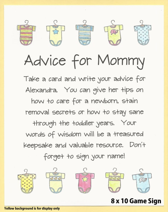 Free Printable Baby Shower Advice & Best Wishes Cards ...