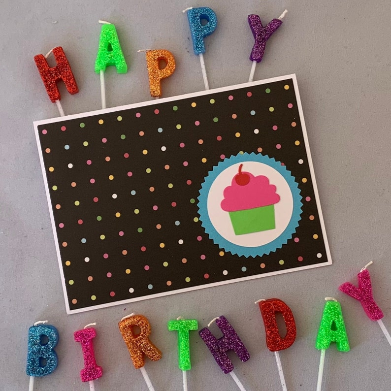 Cupcake Birthday Card Cute Birthday Card Pink Polka Dot Birthday Card Fun Birthday Card Polka Dot Birthday Card Handmade Birthday Card