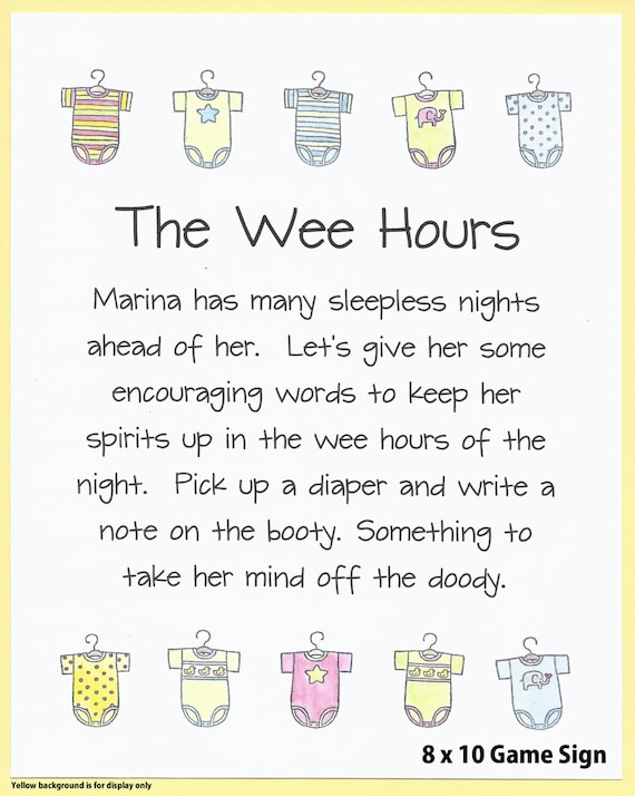 The Wee Hours Baby Shower Game Sign Baby Shower Printables Etsy
