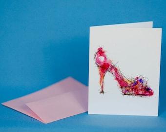 Spring Pump Shoe Note Card
