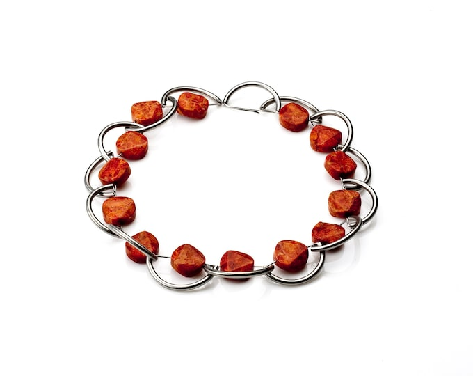Tropea - Necklace Sponge Coral and Stainless Steel