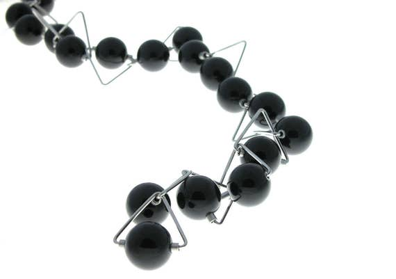 Panarea - Necklace Black Phenolic Spheres and Stainless Steel