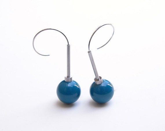 Cerasa Earrings Phenolic, Stainless Steel, Aluminum by Rosario Merola Jewelry Art Studio