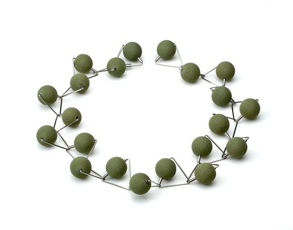 Nini Necklace - Lava Green 16mm from Etna Sicily Volcano and Hypoallergenic Stainless Steel