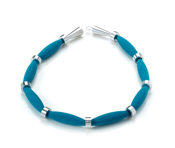 OSTUNI - Necklace Lava Azzurra from Etna Sicily Volcano, Spacers and Closure in Aluminum