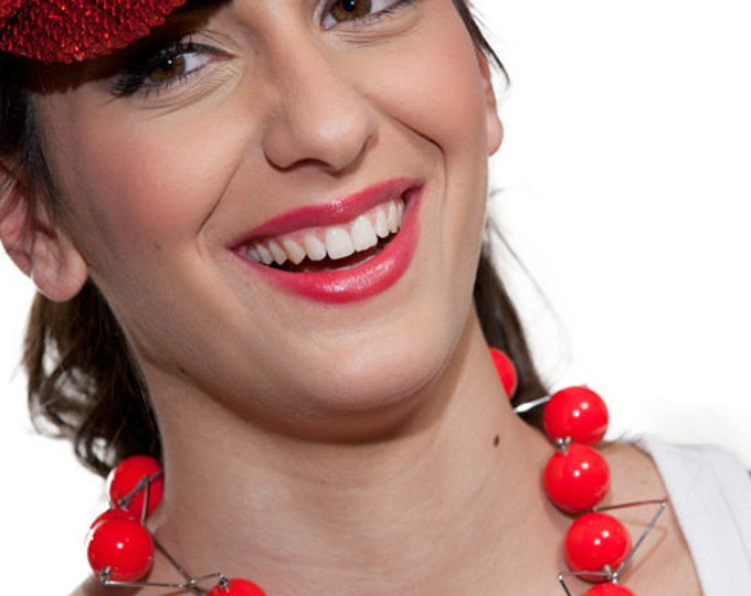 Panarea Necklace Stainless Steel and Phenolic Spheres by Merola Jewelry Art Studio - bead necklace - red - black - yellow - pink - purple