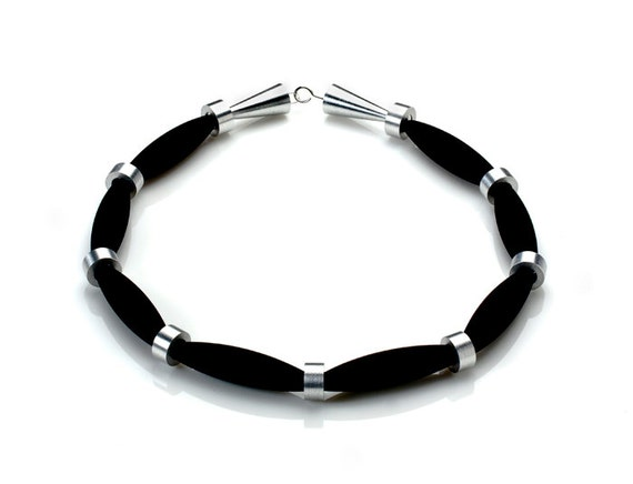 OSTUNI - Necklace Lava Black from Etna Sicily Volcano, Spacers and Closure in Aluminum