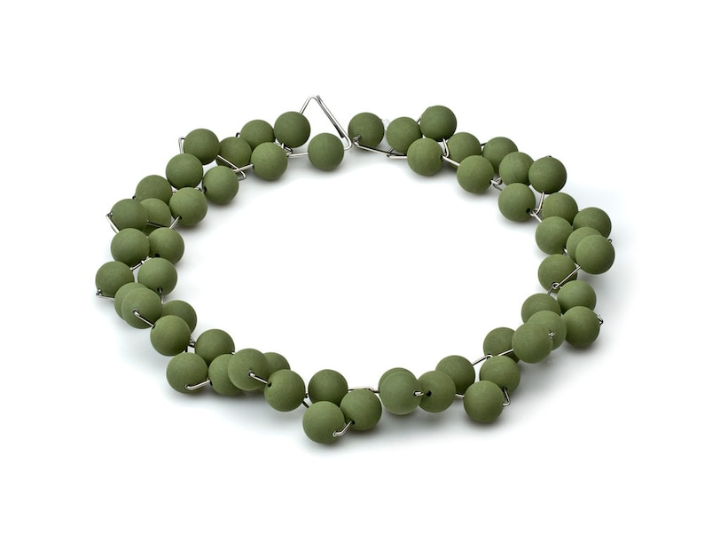 Etna Necklace  Lava Green 14mm from Etna Sicily Volcano and image 0