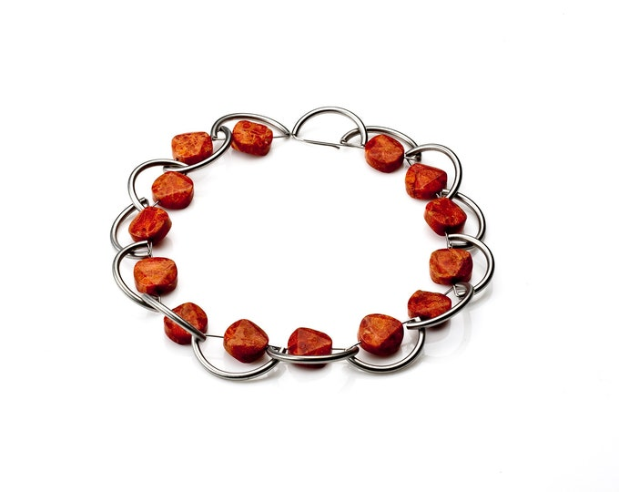 Tropea - Necklace Sponge Coral and Stainless Steel - beaded modern necklace - red beaded necklaces by Merola