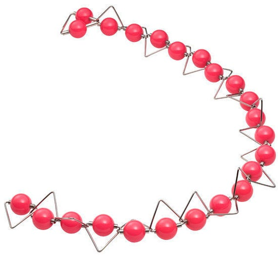 Panarea - Necklace Pink Phenolic Spheres and Stainless Steel