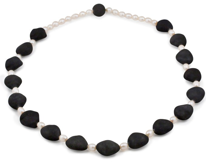 SICILIA Necklace (without closure) black lava and Pearls cultured freshwater - black, pearls beaded necklaces for women by Merola