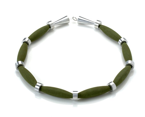 OSTUNI - Necklace Lava Green from Etna Sicily Volcano, Spacers and Closure in Aluminum