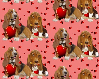 Basset Hounds and Hearts fabric