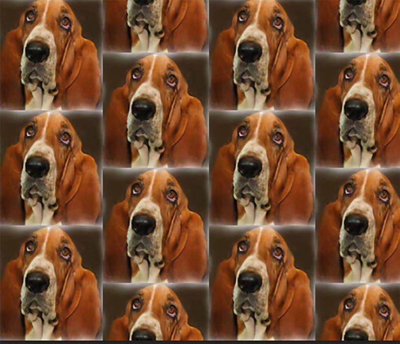 Basset Hound Portrait dog breed fabric