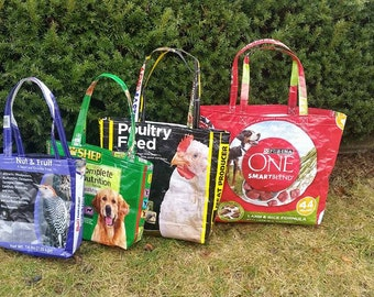 Recycled Feed Bag Tote - Farmers Market Tote - Grocery Tote