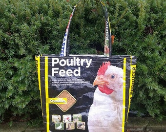 Recycled Poultry Feed Bag Tote - Farmers Market Tote - Grocery Tote