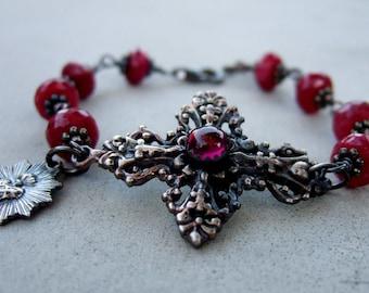 Ruby And Garnet Sacred Heart Bracelet