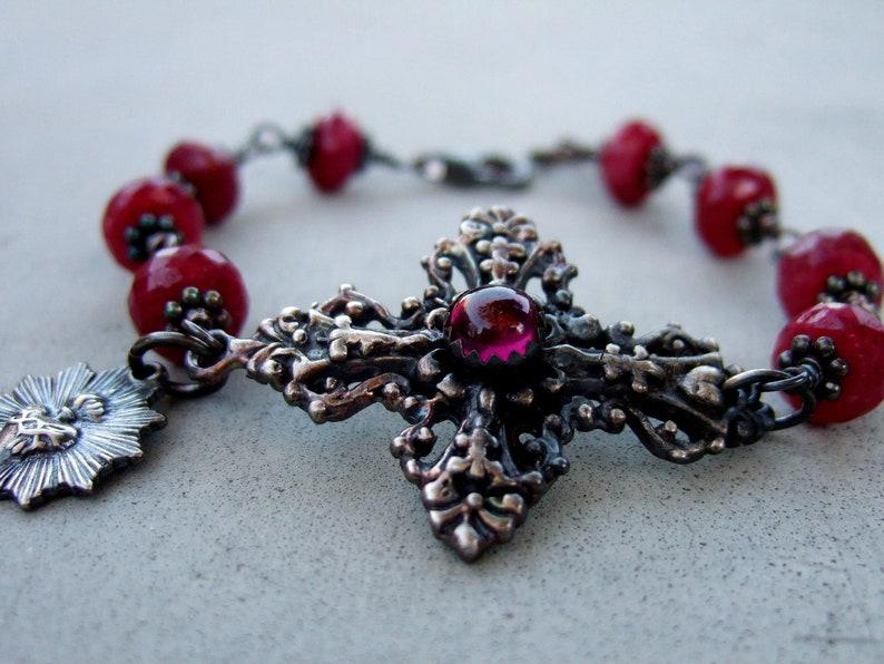 Ruby And Garnet Sacred Heart Bracelet image 0