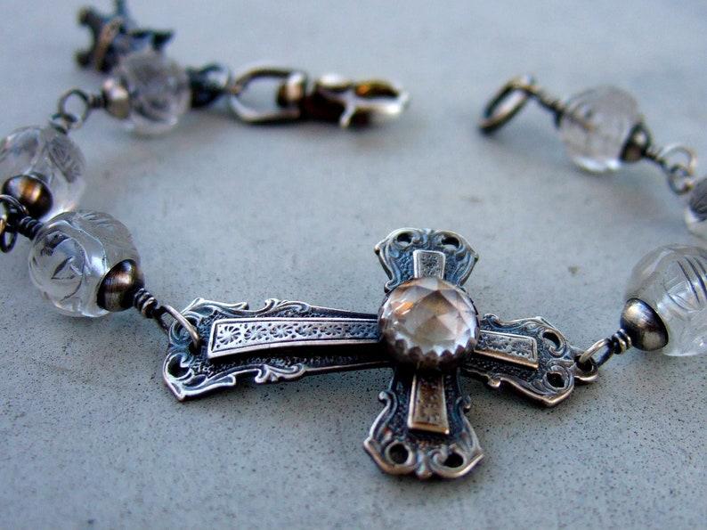 Clear Quartz Cross Bracelet image 0