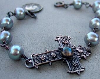 Grey Pearl Mary Cross Bracelet