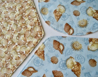 Coastal Living Wedge Placemats 4 or 6 Reversible Seashell Wedge Placemats Summer Placemats Seashell Table Decor Placemats for a Round Table