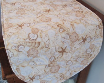 "Lighthouses and Shells Table Runner 36"" Reversible Blue Nautical Table Runner Lighthouse Postcard Table Runner Sea Shells Table Runner"