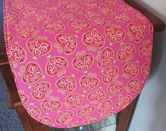 "Pink Valentines 36"" Table Runner Reversible Valentines Table Runner Red and Gold Heart Table Runner Pink Table Runner Valentines Day Decor"