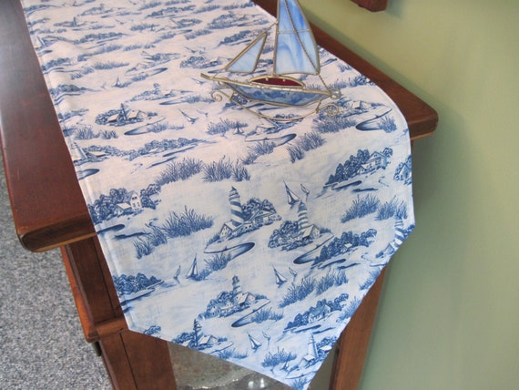 54 Coastal Living Table Runner Reversible Lighthouse Table Runner Sailboat Table Runner Summer Table Runner Blue Nautical Table Decor